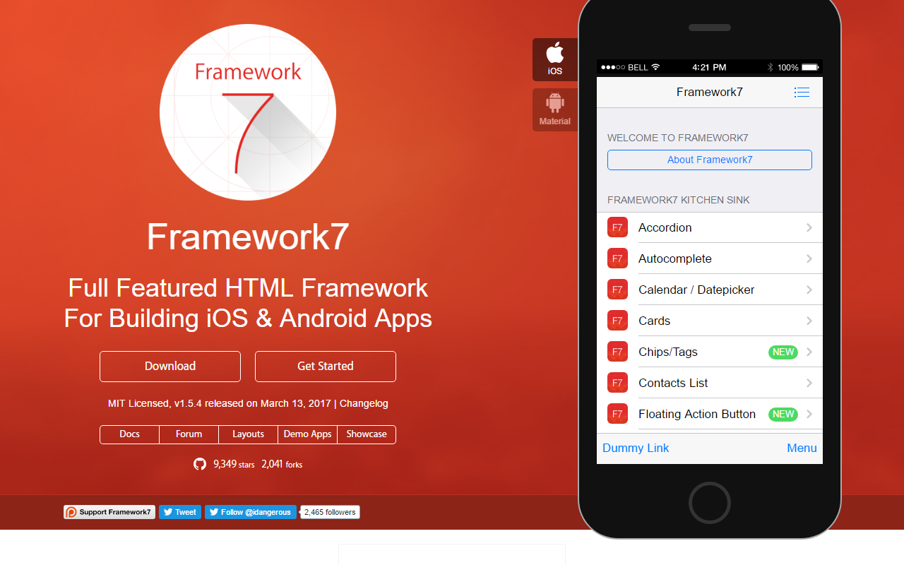 Framework7 - Full Featured Mobile HTML Framework For Building iOS & Android Apps