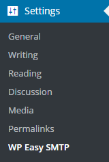 WordPress Easy SMTP Menu
